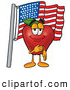 Cartoon Illustration of a Happy Apple with an American Flag by Toons4Biz