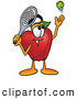 Cartoon Illustration of a Happy Red Apple Character Mascot Preparing to Hit a Tennis Ball by Toons4Biz