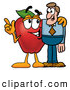 Cartoon Illustration of a Happy Red Apple Character Mascot Talking Nutrition with a Business Man by Toons4Biz