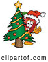 Cartoon Illustration of a Happy Red Apple Character Mascot with a Decorated Christmas Tree by Toons4Biz