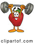 Cartoon Illustration of a Healthy Red Apple Character Mascot Holding a Heavy Barbell Above His Head by Toons4Biz