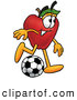 Cartoon Illustration of a Healthy Red Apple Character Mascot Kicking a Soccer Ball by Toons4Biz