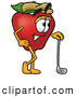 Cartoon Illustration of a Healthy Red Apple Character Mascot Leaning on a Golf Club While Golfing by Toons4Biz