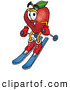 Cartoon Illustration of a Healthy Red Apple Character Mascot Skiing Downhill by Toons4Biz