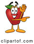 Cartoon Illustration of a Healthy Red Apple Character Mascot Waving and Pointing to the Right by Toons4Biz
