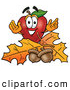 Cartoon Illustration of a Healthy Red Apple Character Mascot with Acorns and Fall Leaves in Autumn by Toons4Biz