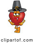 Cartoon Illustration of a Jolly Red Apple Character Mascot Wearing a Pilgrim Hat While Celebrating Thanksgiving by Toons4Biz