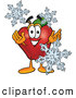 Cartoon Illustration of a Red Apple Character Mascot with Icy Snowflakes in Wintertime by Toons4Biz