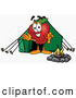 Cartoon Illustration of a Smiling Red Apple Character Mascot Camping with a Tent and a Fire by Toons4Biz