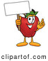 Cartoon Illustration of a Smiling Red Apple Character Mascot Holding a Blank White Sign over His Head by Toons4Biz