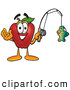 Cartoon Illustration of a Smiling Red Apple Character Mascot Holding a Fish on a Fishing Pole by Toons4Biz