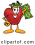 Cartoon Illustration of a Smiling Red Apple Character Mascot Holding a Green Dollar Bill, Paying or Saving by Toons4Biz