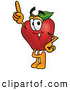 Cartoon Illustration of a Smiling Red Apple Character Mascot Pointing Upwards by Toons4Biz
