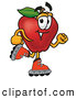 Cartoon Illustration of a Smiling Red Apple Character Mascot Roller Blading on Inline Skates by Toons4Biz