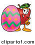Cartoon Illustration of a Smiling Red Apple Character Mascot Standing Beside an Easter Egg by Toons4Biz