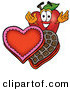 Cartoon Illustration of a Smiling Red Apple Character Mascot with an Open Box of Valentines Day Chocolate Candies by Toons4Biz