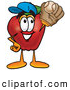 Cartoon Illustration of a Sporty Red Apple Character Mascot Catching a Baseball with a Glove on White by Toons4Biz