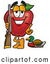 Cartoon Illustration of a Sporty Red Apple Character Mascot Duck Hunting, Standing with a Rifle and Duck by Toons4Biz