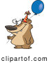 Illustration of a Goofy Birthday Bear Holding a Balloon by Toonaday