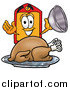 Illustration of a Price Tag Character Serving a Thanksgiving Turkey on a Platter by Toons4Biz