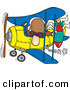 Vector Cartoon Illustration of a White Bomber Person in a Biplane Preparing to Drop a Bomb down by Toonaday