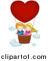 Vector Illustration of a Happy White Boy and Girl in a Valentine Hot Air Balloon by BNP Design Studio