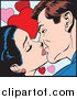 Vector Illustration of a Pop Art Caucasian Couple Kissing over Hearts by Brushingup