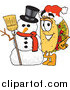 Vector Illustration of a Taco Standing by a Christmas Snowman by Toons4Biz